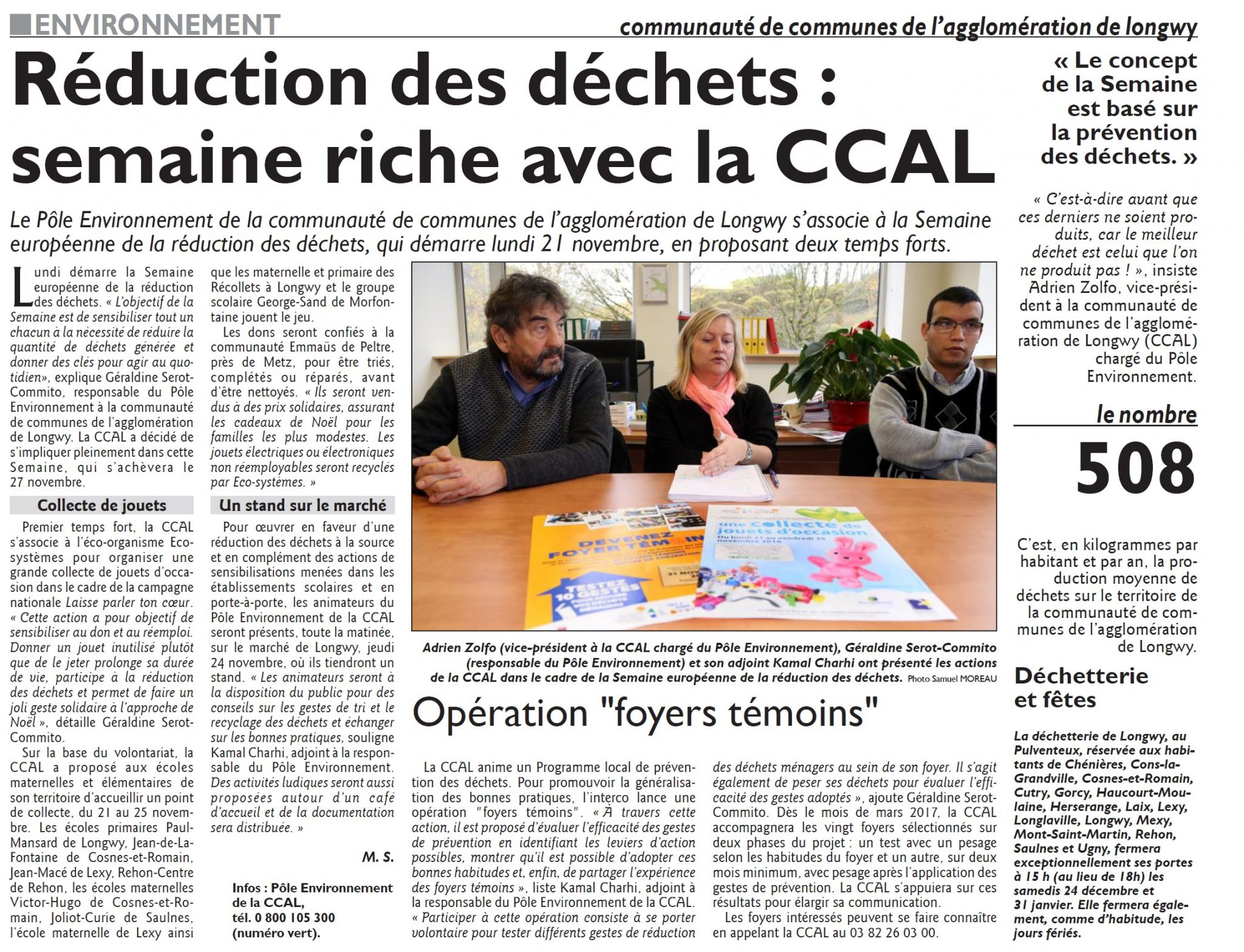 Réduction des déchets : semaine riche avec la CCAL