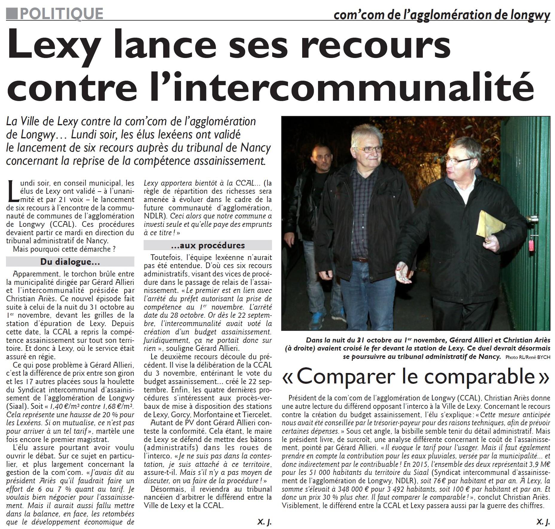 Lexy lance ses recours contre l'intercommunalité