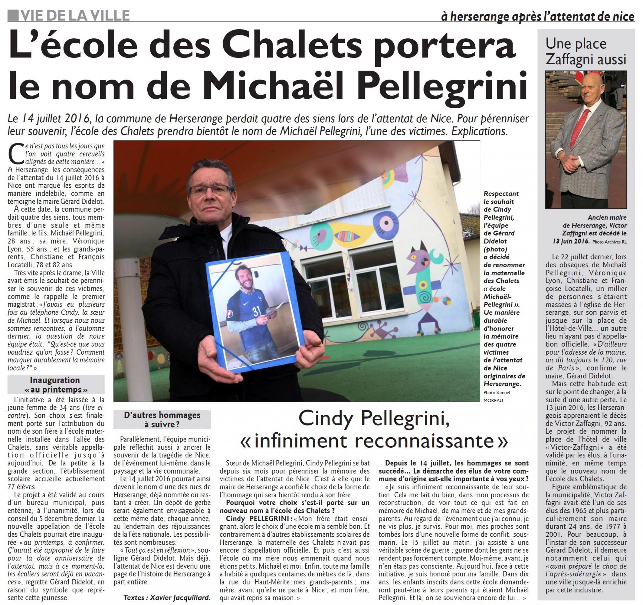 L'école des Chalets portera le nom de Michaël Pellegrini