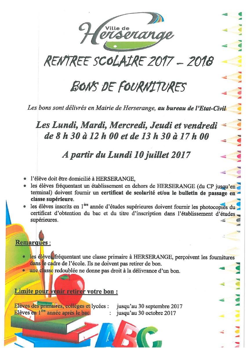 Fournitures scolaires rentrée 2017-2018