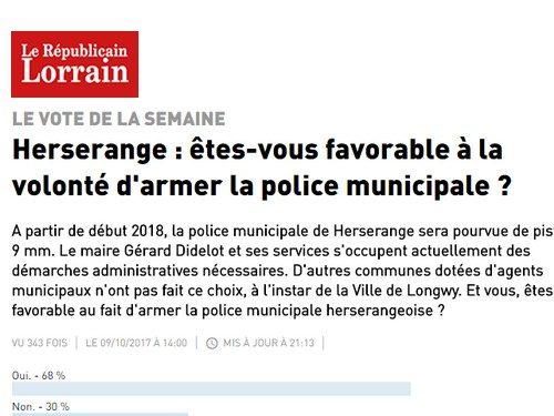 Herserange : êtes-vous favorable à la volonté d'armer la police municipale ?