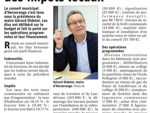 Pas d'augmentation des impôts locaux