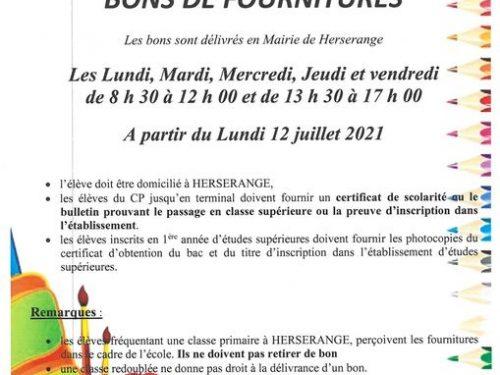 Ville de Herserange – BONS DE FOURNITURES SCOLAIRES
